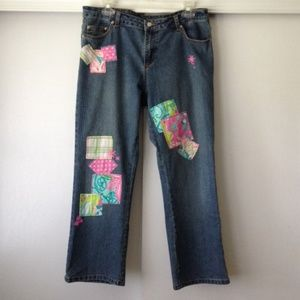 Lilly Pulitzer Patchwork Embellished Cropped Jeans